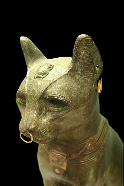 Egyptian Bronze Cat Statue