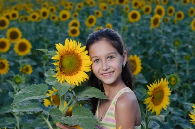 Girl with Sunflowers